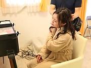 Japanese teen brunette likes sex toys