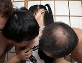 Horny hottie Azuki in freaky gang bang session indoors
