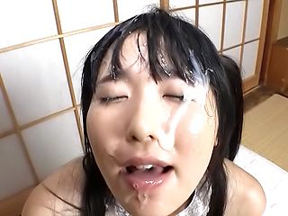 Petite love Azuki gets her pretty face filled with a creamy jizz