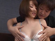 Asian girlfriend with a shaved pussy Ogura Kana gets a facial