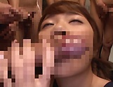 Hot Japanese girl Ogura Kana sucks many cocks gets bukkaked picture 15