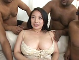 Busty Asian milf gets fucked hard in gangbang