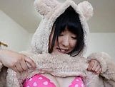 Spicy Azuki shows her wet shaved pussy before a lucky stud picture 14