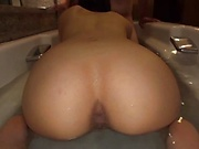 Relaxing bath and a sensual blowjob