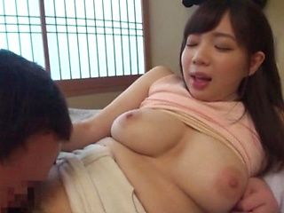 Sweet Asian babe with massive tits Saitou Miyu enjoys oral sex