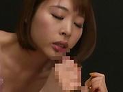 Asian amateur woman Honda Misaki gives a blow and swallows semen