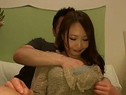 Nice looking Japanese milf gets her trimmed twat toyed mouth fucked