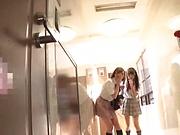 Horny schoolgirl Saitou Miyu in kinky threesome scene