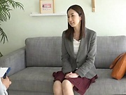 Milf brunette enjoys getting a large cock to suck