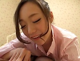 Sexy babe knows how to blowjob dude like a pro