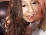 Sasaki Aki expertly shows her blowjob skill set