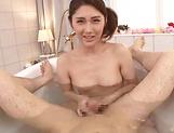 Alluring Chitose Hara chokes and gags sucking cock
