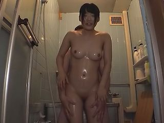 Cute babe Azuki gets kinky in the washroom