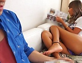 Naughty super model Aika gives hot footjob