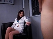 Cute office honey Julia gets her big tits caressed