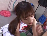 Asian cheerleader with nice ass enjoys cum in mouth  picture 12