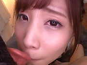 Teen Japanese babe sucks cock in perfect POV