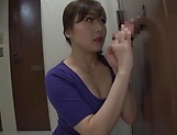 Hot milf Saitoui Miyu in raunchy glory hole session indoors picture 13