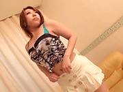 Hot Japanese sex doll in a short skit gets toyed and screwed