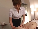 Japanese babe swallows cum after great blowjob picture 12
