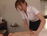 Japanese babe swallows cum after great blowjob picture 15