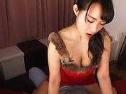 Asian hottie Shibuya Kaho enjoys titfuck and sucks a big cock