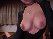 Hot woman with big tits is very horny