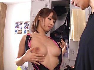 Hot babe having mmmf locker room action