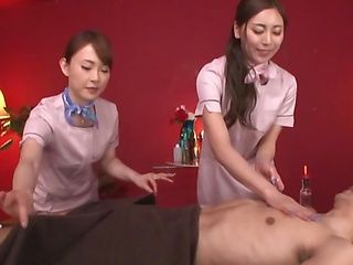POV blowjob with two Japanese girls