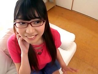 Innocent looking girl in glasses Amano Miyuu sucks a cock in pov