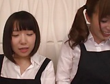 Hot Japanese AV models dressed as scholgirls suck dicks