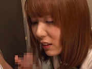 Japanese schoolgirl is sucking hard dick