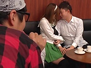Hatano Yui is giving a free blowjob