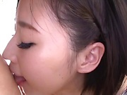 Short haired brunette, Sana got a facial cumshot
