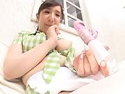 Chubby babe Mikoto Narumiya enjoys showing her big tits