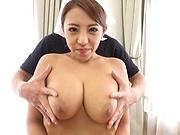 Uchiyama Mai in kinky blowjob POV scene indoors