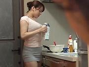 Wild kitchen session involving busty Mishima Natsuko