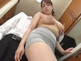 Wild kitchen session involving busty Mishima Natsuko