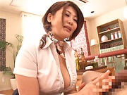 Sexy milf Oshikawa Yuuri in a sensual blowjob