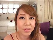Busty Japan babe sucks and fucks in hot POV