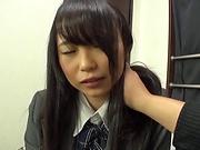 Cute Akane Yoshinaga has her beaver stretched