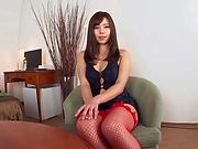 Sex-starved Japanese milf in red stockings Saijou Sara gets toyed