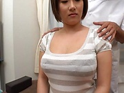 Busty sexy milf enjoys showing off her firm large melons