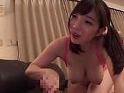 Naughty brunette is pampering a neighbor