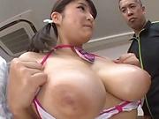 Horny brunette is having group sex