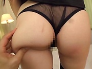 Busty Japanese girl Yuzuki Marina fucks in black nylon stockings