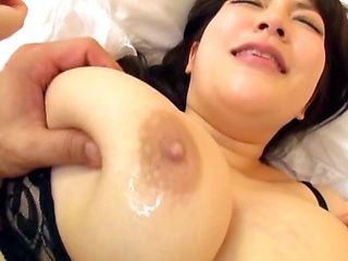 Busty Japanese girl Yuzuki Marina fucks in black nylon stockings