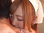 Sweet Japanese milf with big tits gets her pussy creamed