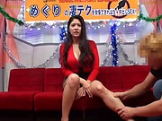 Busty Tokyo cutie Meguri gives a handjob and a mouth work