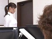 Ayami SHunka gets fucked at work by the new guy